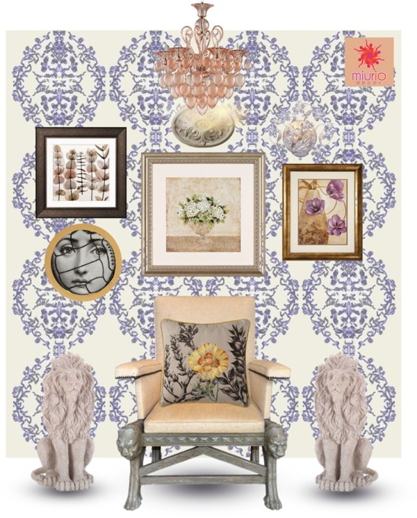 """MORNING DEW_in violet MiuRiO Decor wallpaper interior design set"" by miuriodecor on Polyvore"