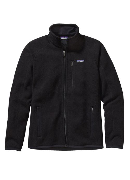 Men's Better Sweater Jacket in Black by Patagonia is made of 100% polyester fleece with a sweater-knit face, fleece interior and heathered yarns. This jacket features a full-zip jacket with zip-throug
