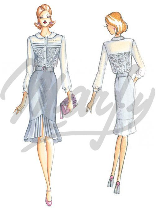 Marfy 3070 & 3071  Very refined blouse to be made out of voile or muslin and lace, round turn-down collar and sharppleated yoke. Straight skirt with volant towards the hemline and pleats with central split.