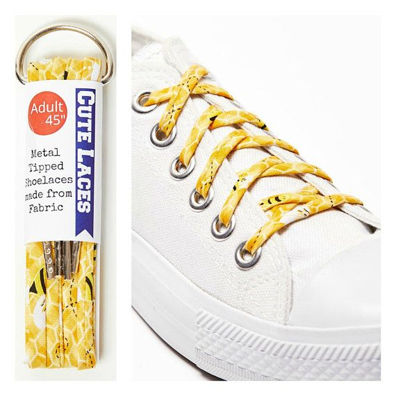 Shoelaces with Honey Bees Shoe Laces #cutelaces #shoelaces #yellow #honeybee #honeycomb #honeylover #mothersday