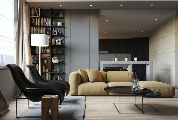 Who doesn't need the floor-to-ceiling bookshelf? The framework of the coffee table legs tie in with the chairs.