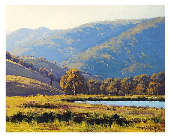 LARGE LANDSCAPE PAINTING afternoon sunlight lithgow Australian by Graham Gercken on Etsy, $279.00