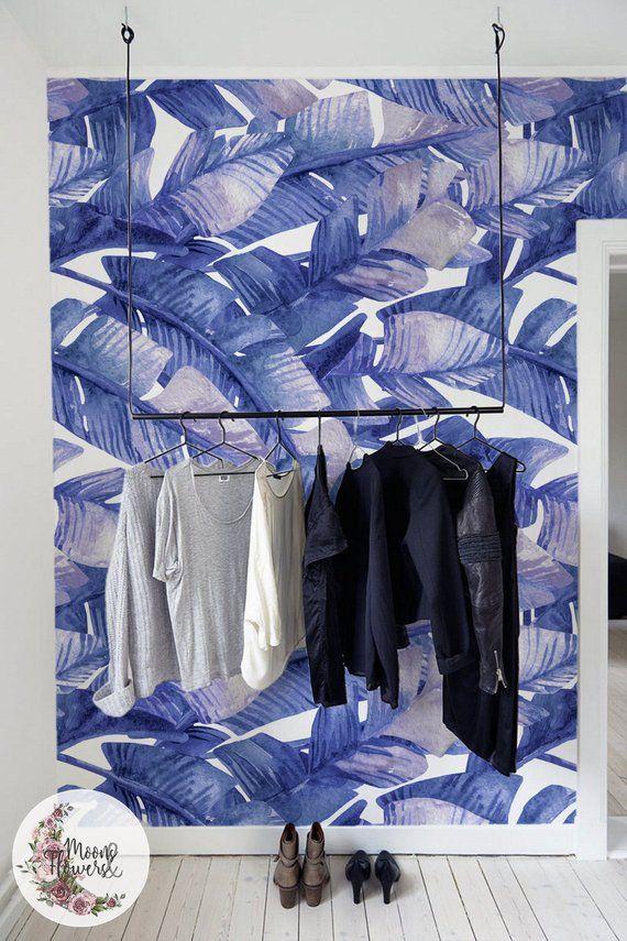 Blue Banana Leaves Wall Mural Blue Leaves Wall Decor Leaf Etsy Wall Murals Leaf Wallpaper Blue Decor