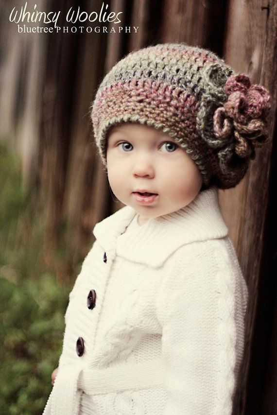 Pattern: Raspberry Beret with Flower, Crochet Hat, Toddler, Child & Adult