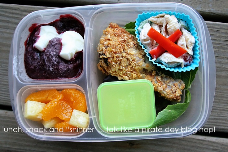"Lunch, Snack and ""Sninner"": talk like a pirate day blog hop and giveaway... pirate peg leg chicken drumstick #EasyLunchboxes: Pirates Lunches, Pirates Peg, Pirate Lunches"