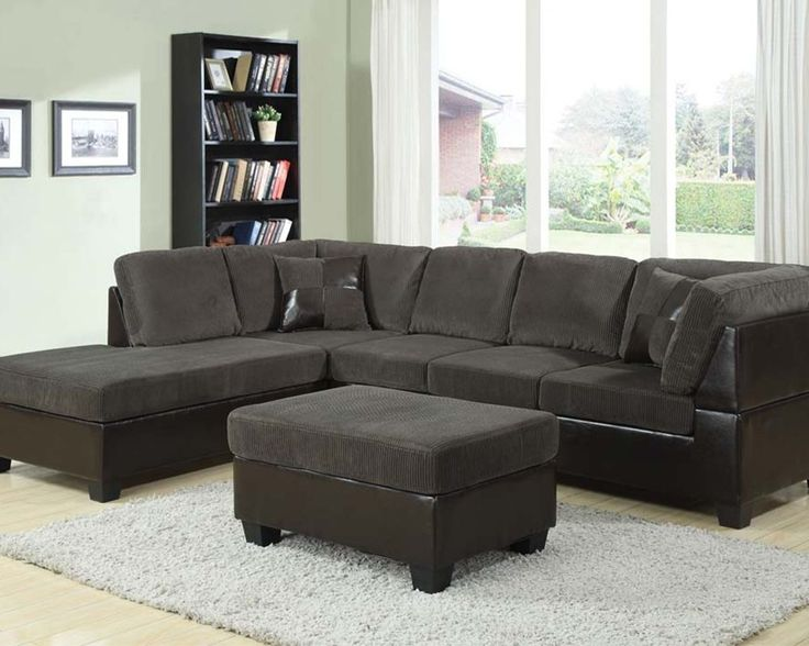 3pc Euro Design Dark Gray Microfiber Sectional Sofa