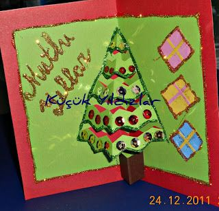 Çocuklara ve ögretmenlere eğlenceli faaliyetler: ÇAM AĞACI - Yeni yıl kartı