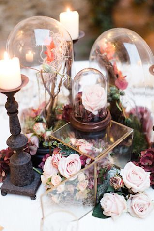 Bell jar centerpieces | Matthew Ree Photography | see more on: http://burnettsboards.com/2014/10/destination-wedding-inspiration-florence/