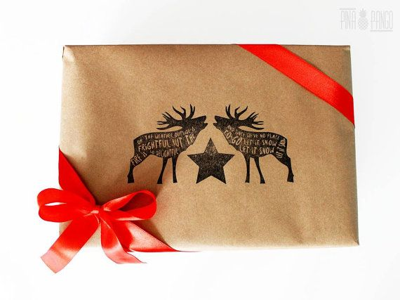Christmas wrapping paper | Gift paper | Hand printed kraft paper | Stamped paper | Deer stamp | 25.5x39.5'' | 65x100cm