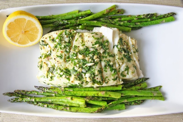 Garlic and Cilantro Grilled Halibut with Aspargus