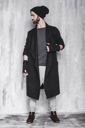 PŁASZCZ SECRET Męski - płaszcz, długi, czarny