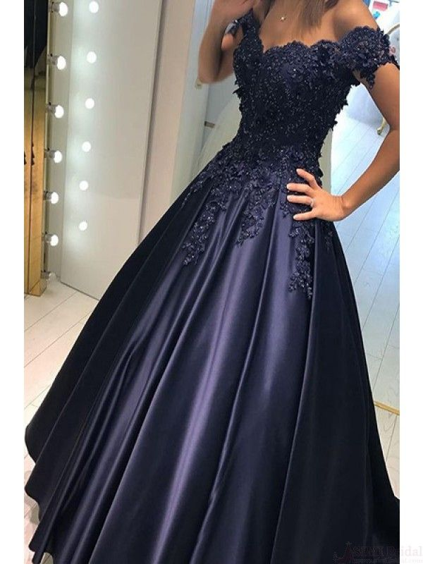 off shoulder prom dresses, applique prom dresses #SIMIBridal #promdresses