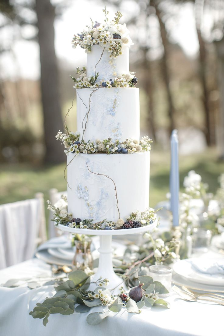Elegant grey & blue wedding cake for sophisticated styled shoot at Delamere Mano…  – WEDDING CAKES