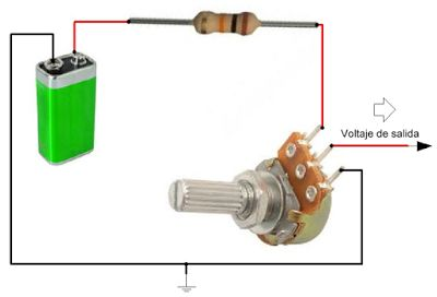 Como conectar un potenciometro para variar voltaje.