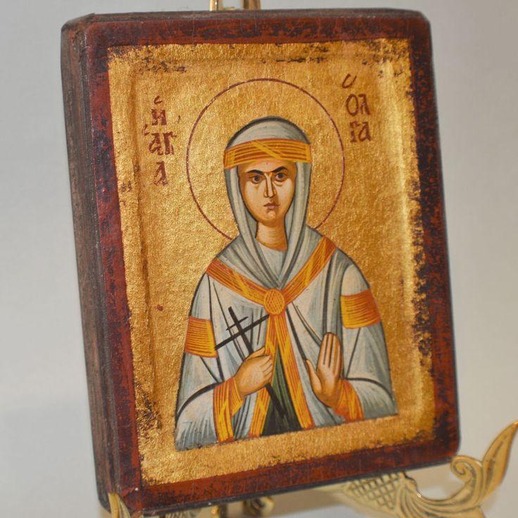 Orthodox Icon Handpainted Greek Byzantine Saint Olga