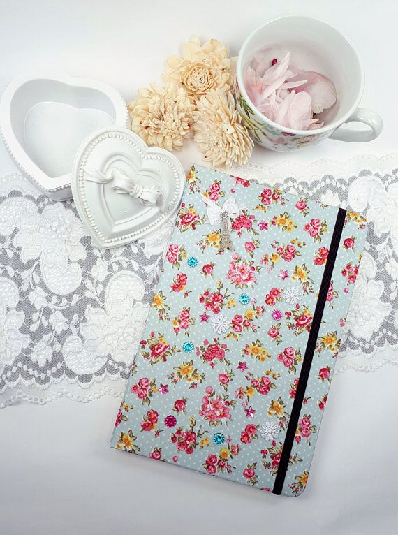 Blue covered notebook notebook with floral theme Shabby Chic journal by Rocreanique on Etsy