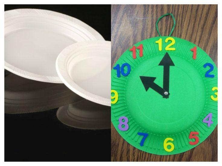 Platos de pl stico para hacer un reloj y aprender las - Hacer reloj de pared con fotos ...
