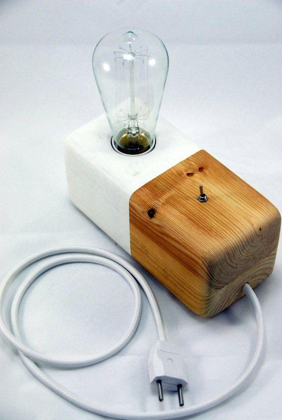Delightful Modern Table Lamp Edison Slyle Wood Block White Door Panselinos. Handmade  ...