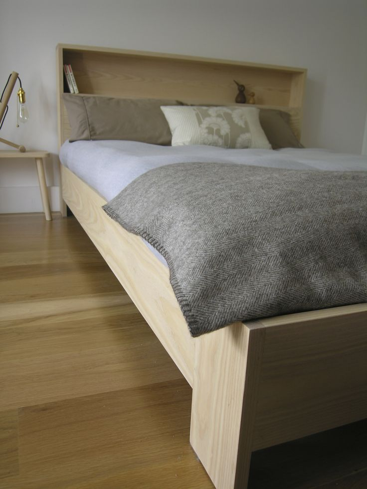 american ash  bed with book shelf,available in all sizes.oak and walnut timbers aslo. handmade by chris colwell design