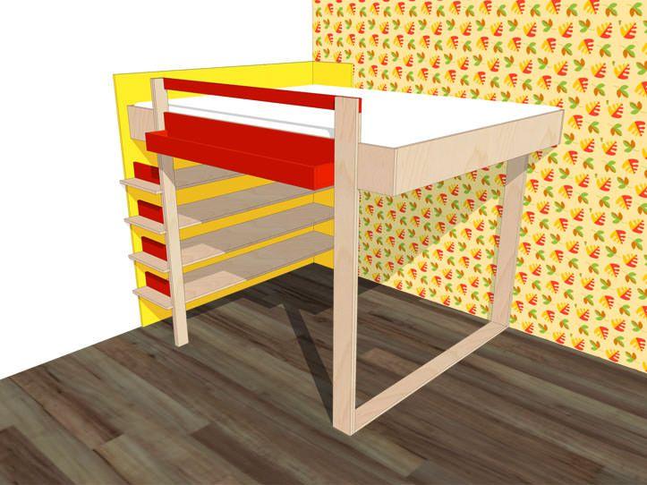 Werktekening bouwtekening hoogslaper / hoogbed 'Ana' voor twee personen