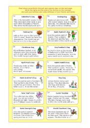 English worksheet: Holidays and special days in th UK