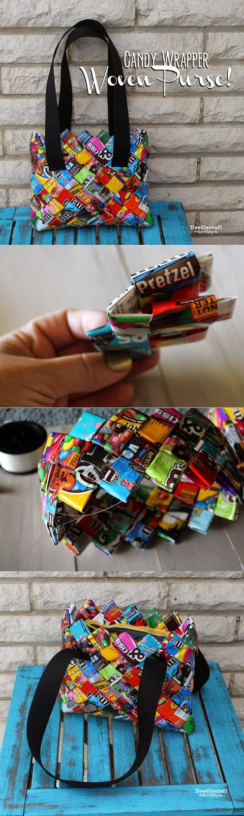 CANDY WRAPPER CRAFTS WEEK! Woven Purse/Bag! Make an adorable Upcycled Statement with this woven purse! Now, I've been hoarding ...