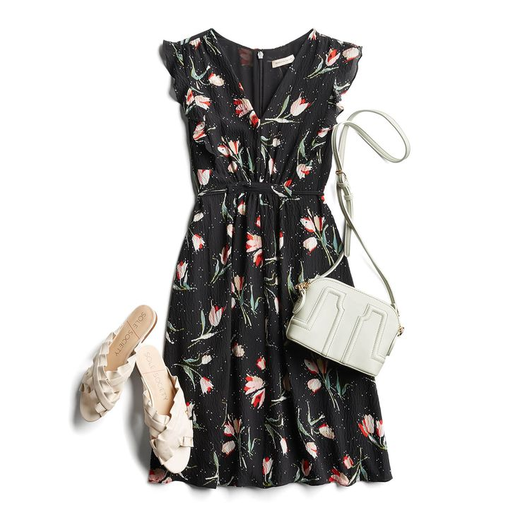 Spring Fashion- super cute dress; love the pattern and the cut with the flat shoes. I have a similar bag :)