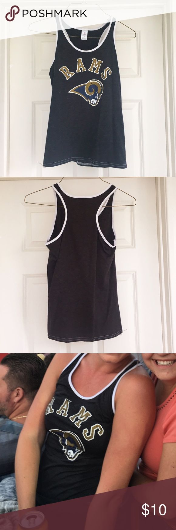 LOS ANGELES RAMS 🐑 TANK TOP Worn once to game.  NFL official Rams tank top- women's small.  Very cute top. NFL Team Store Tops Tank Tops