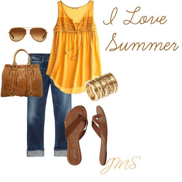 I love summer!: Summer Fashion, Yellow Shirts, Summer Looks, Summer Style, Cute Summer Outfit, Cute Outfit, Summertime, Summer Clothing, Summer Time