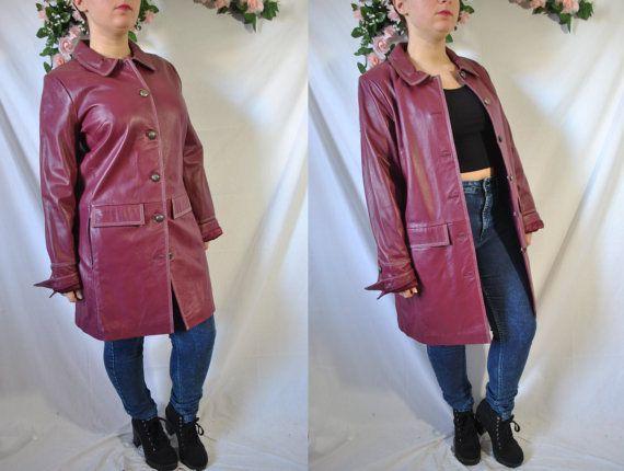 Vintage 80s cuero auténtico rojo capa botón Up chaqueta cuero largo Hippie trinchera motocicleta caída Boho Biker chaqueta