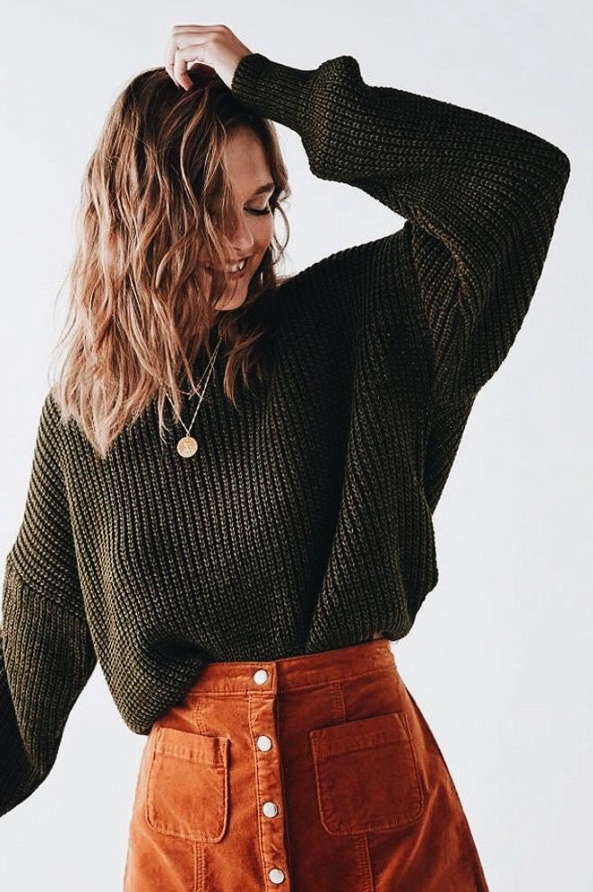 fall outfits | forest / dark green sweaters | button skirts | medium long short brunette cut | simple gold necklaces | long sleeves