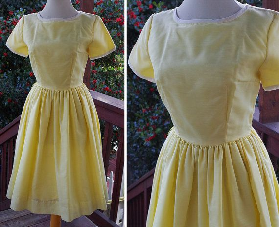 SANDRA Dee 1960's Vintage Light Yellow Dress with by Jewels4pandas