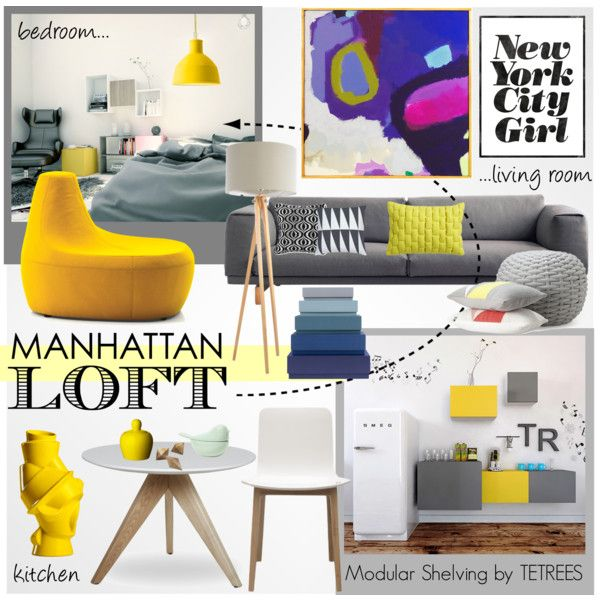 Grey & Yellow Manhattan Apartment by tetrees on Polyvore #loft #NYC #interiordesign #tetrees