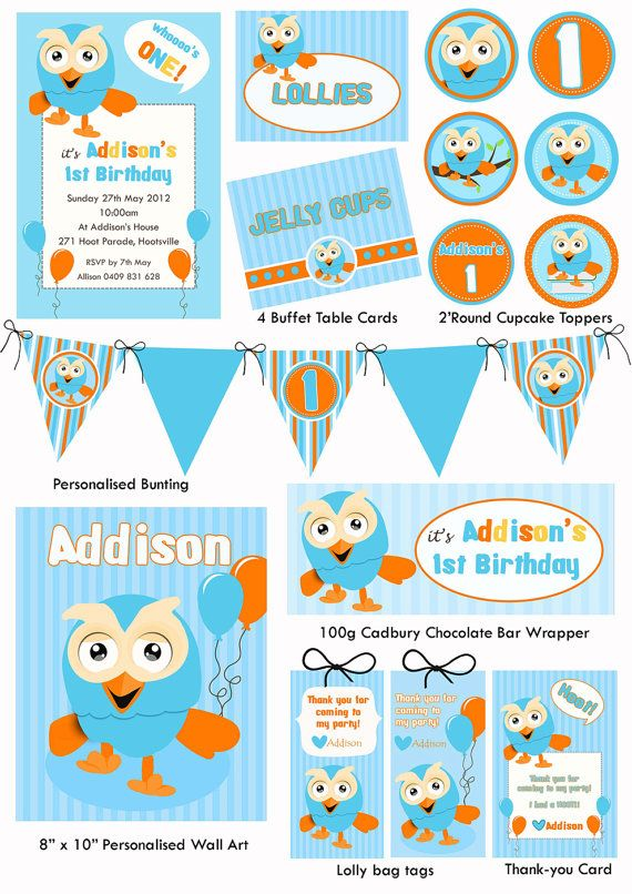 Giggle and Hoot Party Printable Stationery by TweetPartyBoutique