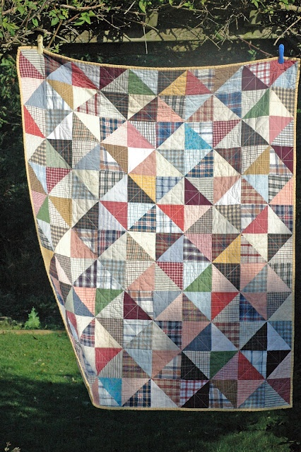 old shirt quilt - to think of all those shirts I've thrown away over the years...sigh