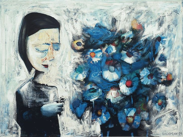 Woman and Flowers (1959) by Charles Blackman.