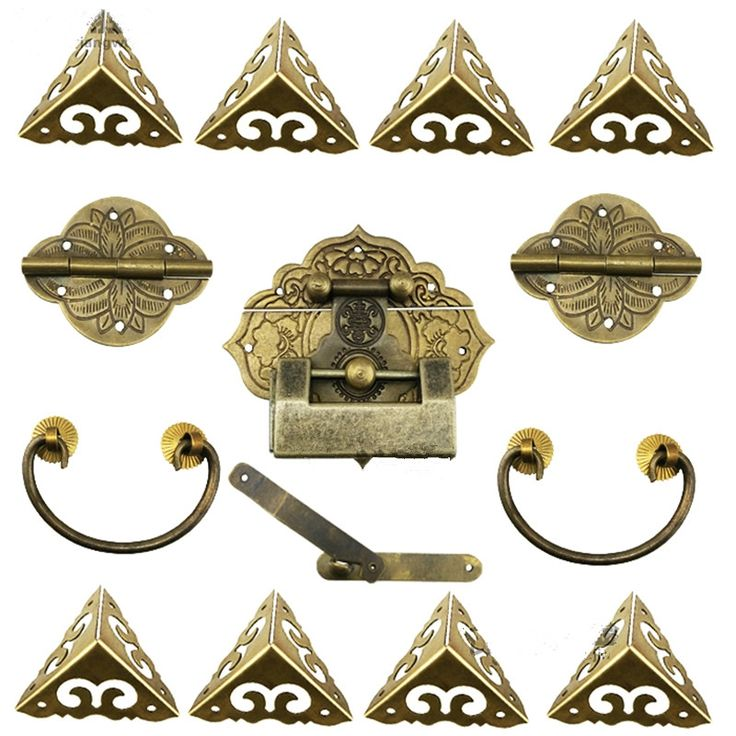 39.00$  Watch here - http://alia9b.shopchina.info/1/go.php?t=32815565287 - 15Pcs Brass Hardware Set Antique Wooden Box Latch Hasp+Pull Handle+Hinges+Corner Protector+Old Lock Furniture Accessories  #aliexpresschina