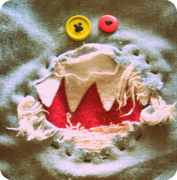 Patch up holes in jeans and create a monster face - so cute!!