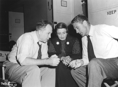 King Vidor, Ayn Rand and Gary Cooper.  The Fountainhead's set.