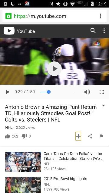 Antonio Brown punt return for TD where he jumps onto the goalposts.