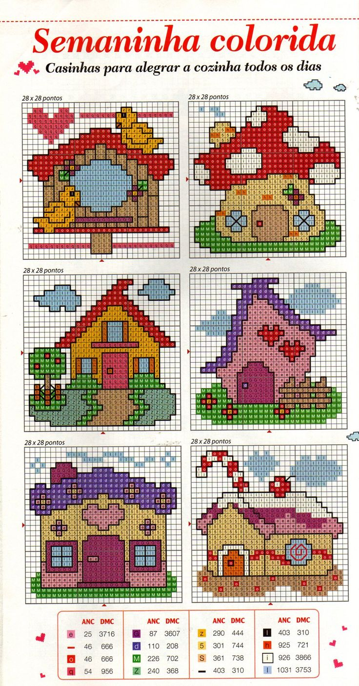 Houses Free Cross Stitch Pattern Chart