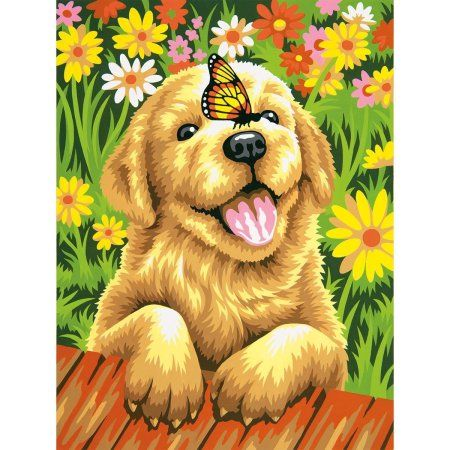 Paintworks Paint Number Kit, Puppy Gardener, Learn to Paint Kit By Dimensions Crafts Ship from US - Walmart.com