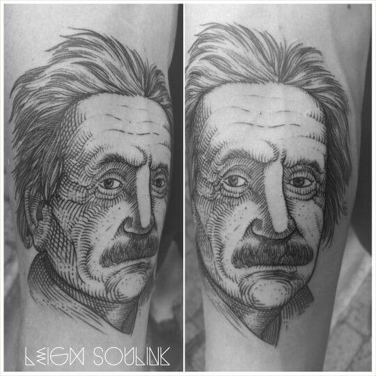 Etch portrait.  Albert Einstein
