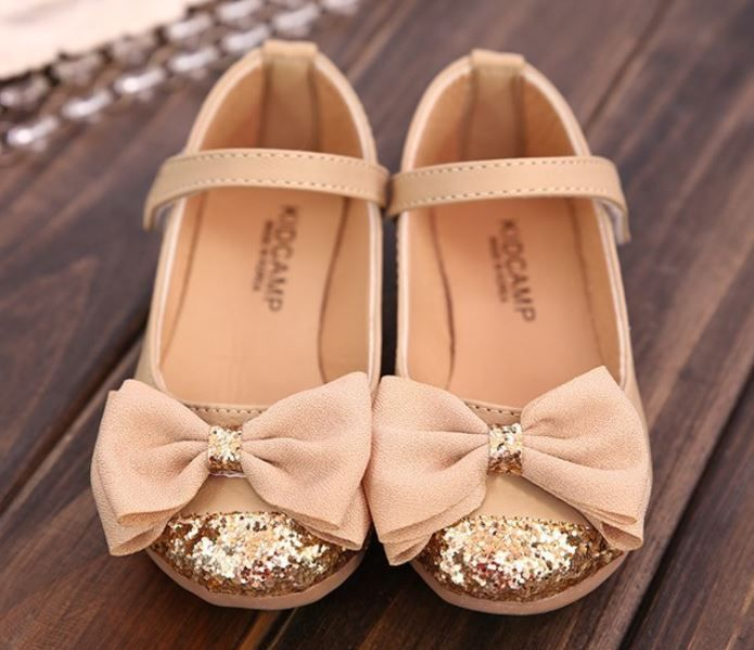 Beige Shoes for Girls with Golden Embelishment beige Shoes with Bow