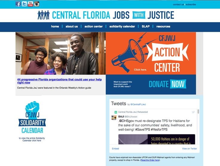 Central Florida Jobs With Justice website