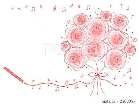 バラの素敵な花束イラストアイデア