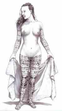 Marquesas body art - female