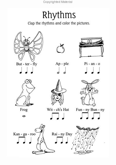 Rhythms Music Note Coloring Sheets