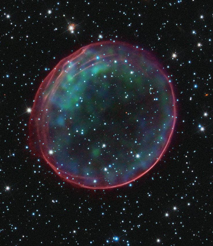 The image of this supernova remnant was made by combining data taken with the Hubble Space Telescope and X-ray images from the Chandra X-ray...