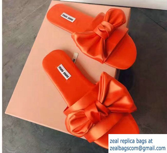 Miu Miu Bow Slipper Sandals Orange 2017